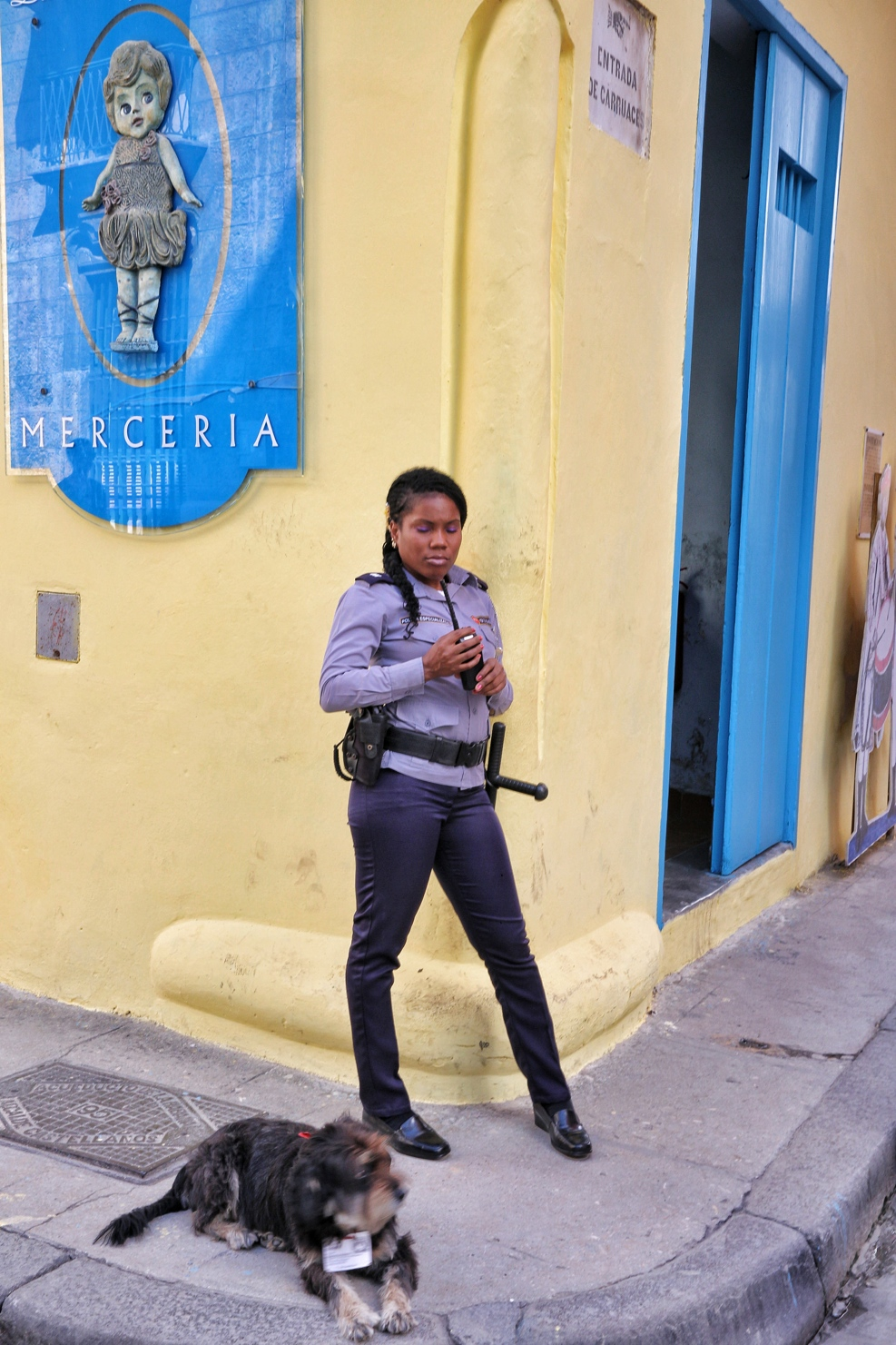 Dog and a policewoman in Havana