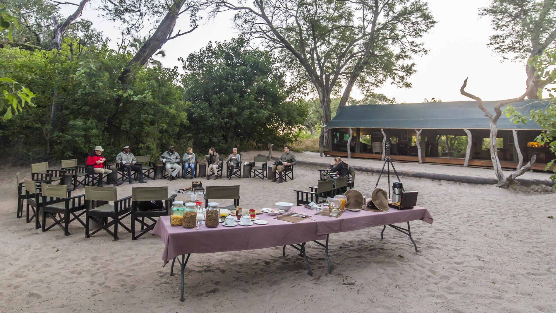 Breakfast at Macatoo Camp Okavango