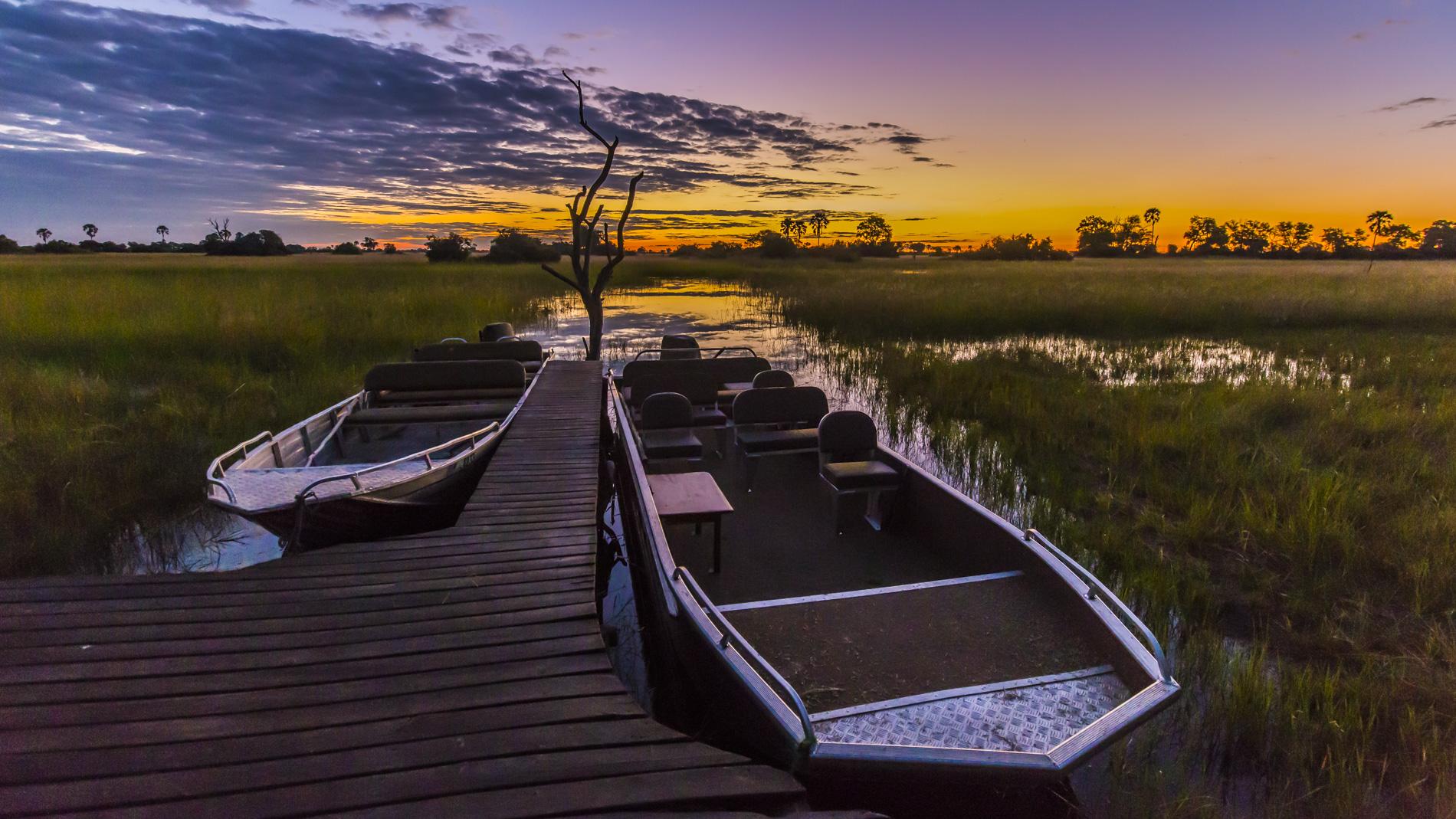 Sunset at Macatoo Camp Okavango